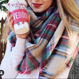 Red Green and Tan Plaid Blanket Scarf